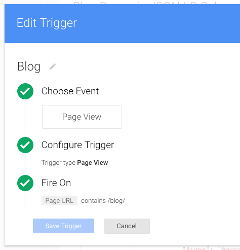 tag manager trigger configuration