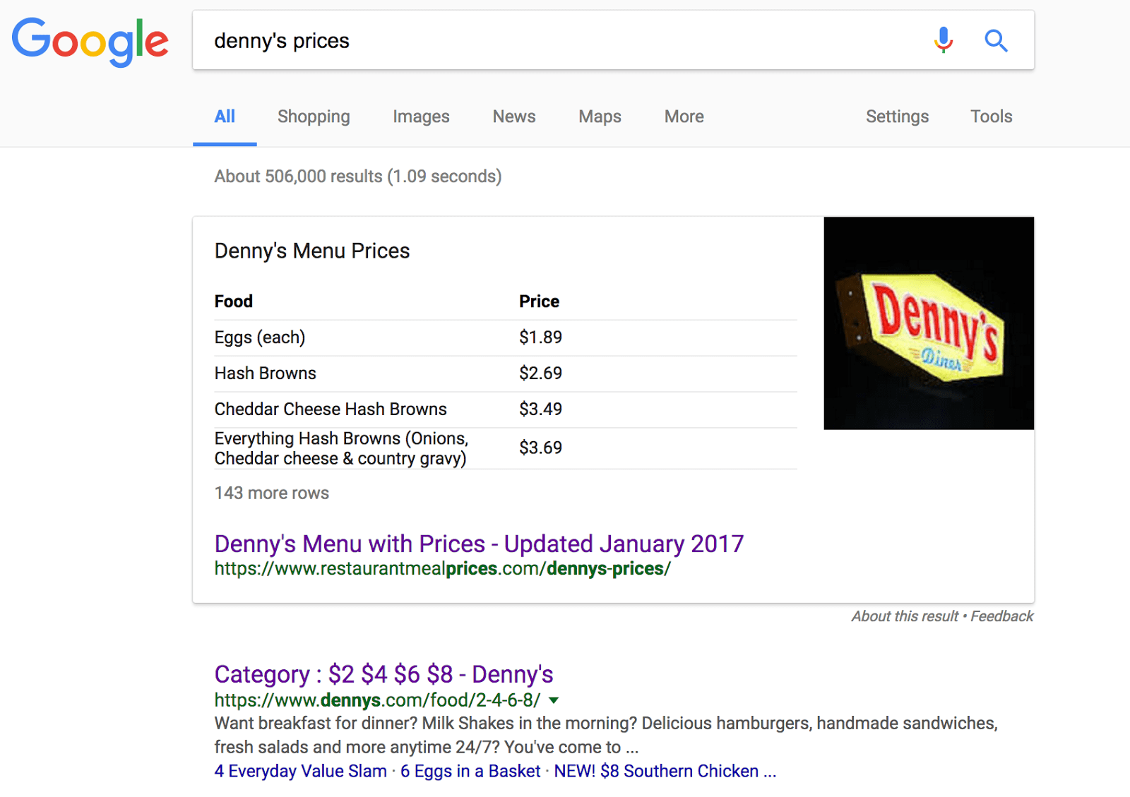 Screenshot: SERP & snippet for denny's menu prices