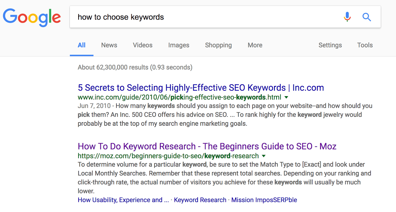 "Screenshot: SERP & snippet for ""how to choose keywords"""