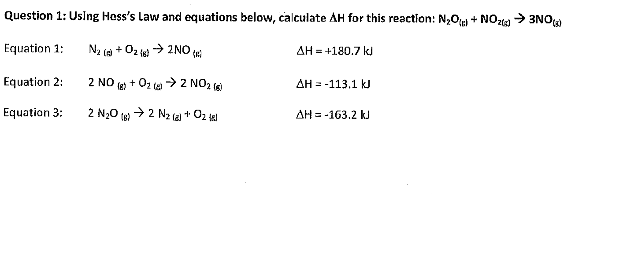 Solved Using Hess S Law And Equations Below Calculate De