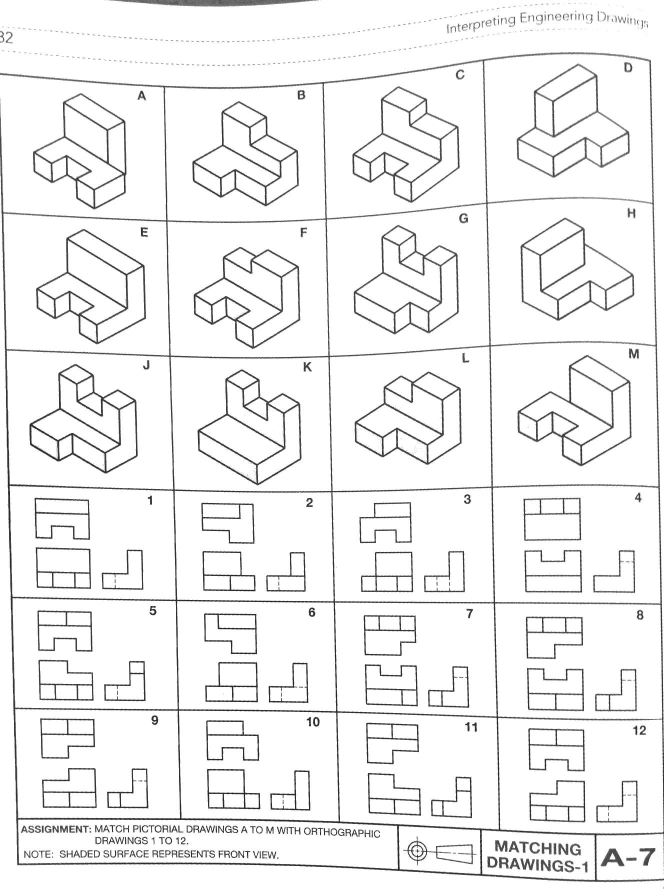 Solved Match Pictorial Drawing A To M With Orthographic D