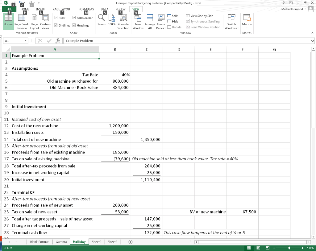 Solved Capital Budgeting Spreadsheet Project Introduction