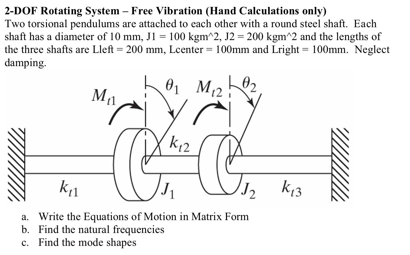 Solved 2 Dof Rotating System