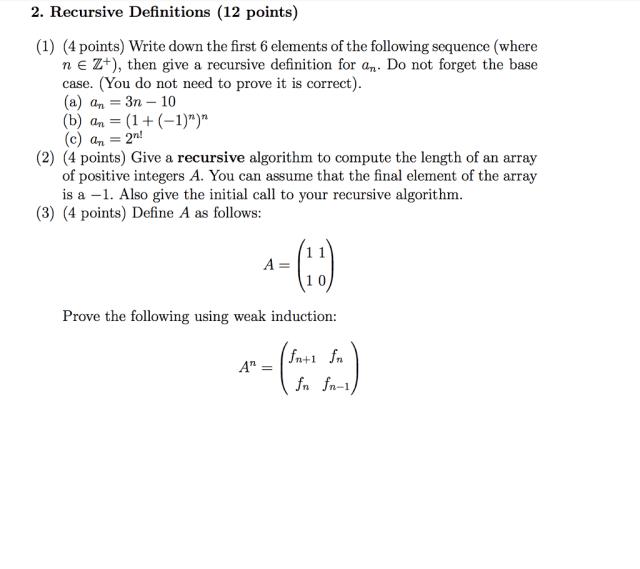 Solved 199. Recursive Definitions (19199 points) (19) (19 points)  Chegg.com