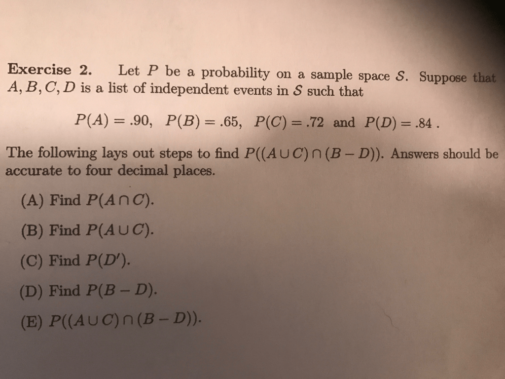 Let P Be A Probability On A Sample Space S Suppos