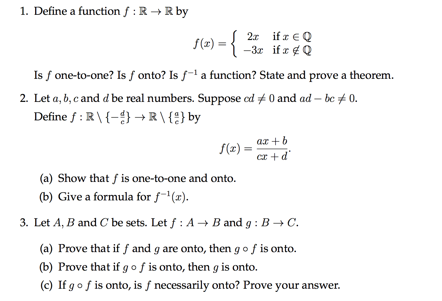 Solved Define A Function F R Rightarrow R By Is F One T