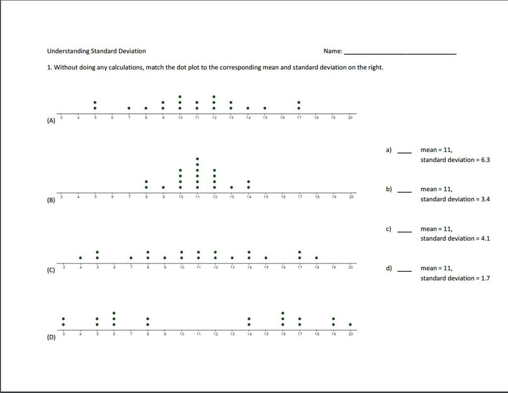 Solved Without Doing Any Calculations Match The Dot Plot
