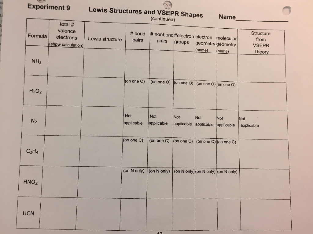 Lewis Structure Vsepr Worksheet With Answers