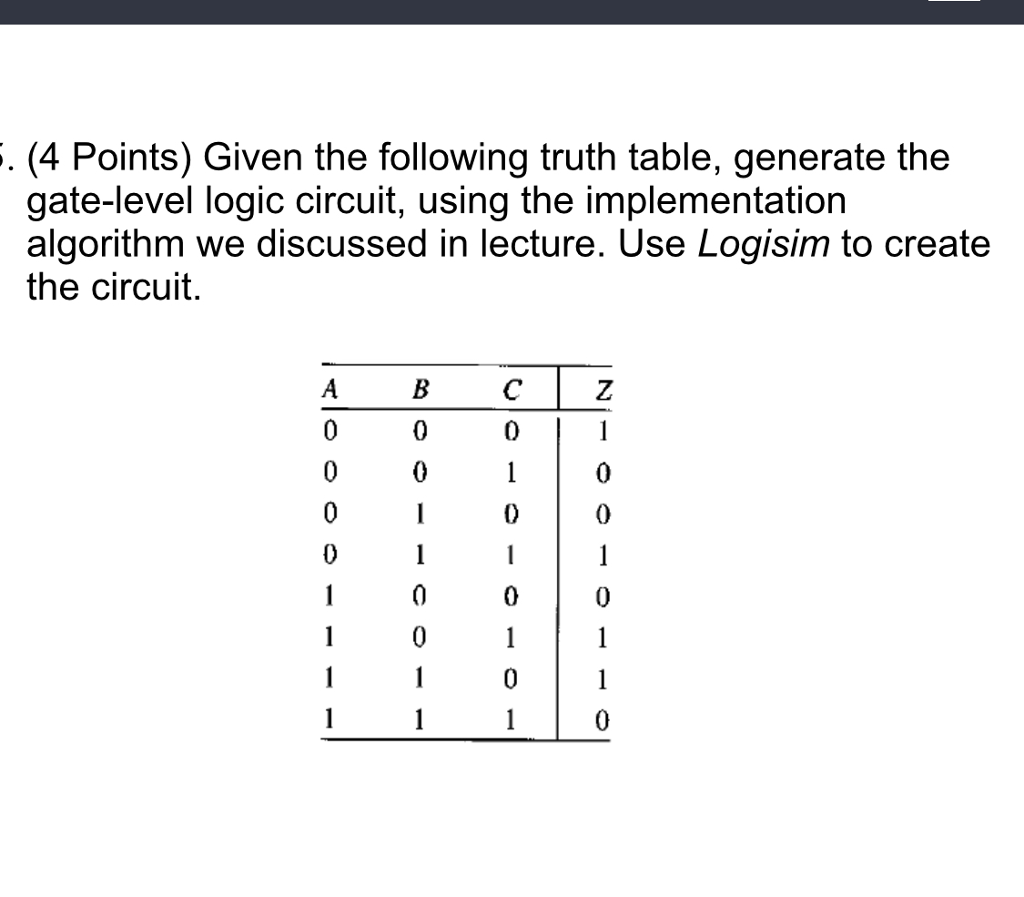 Solved 4 Points Given The Following Truth Table Genera