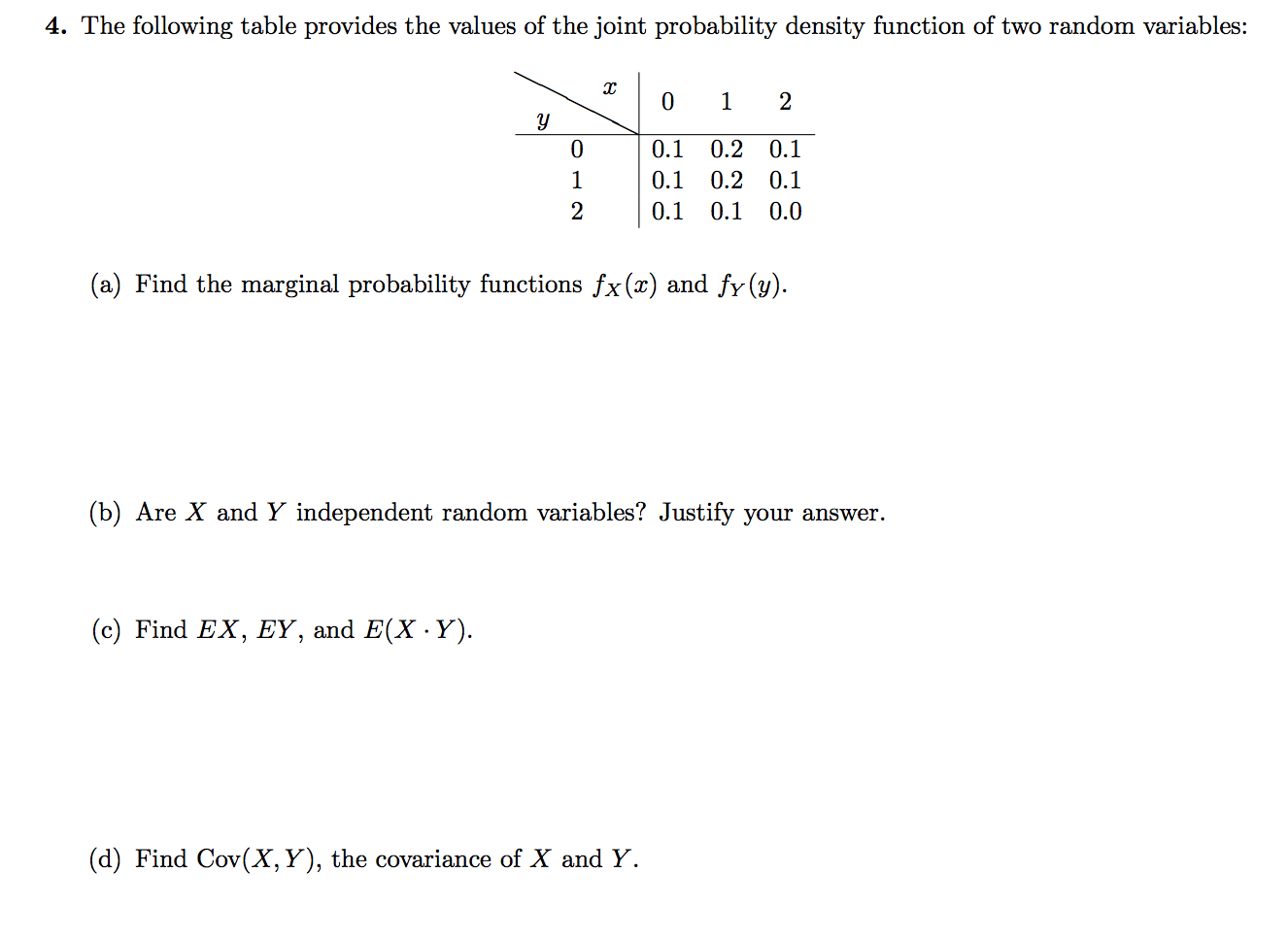 Solved The Following Table Provides The Values Of The Joi