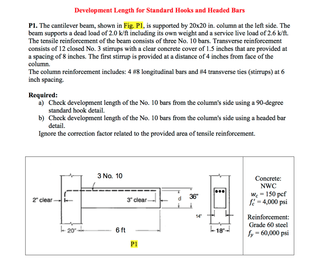 Solved Development Length For Standard Hooks And Headed B