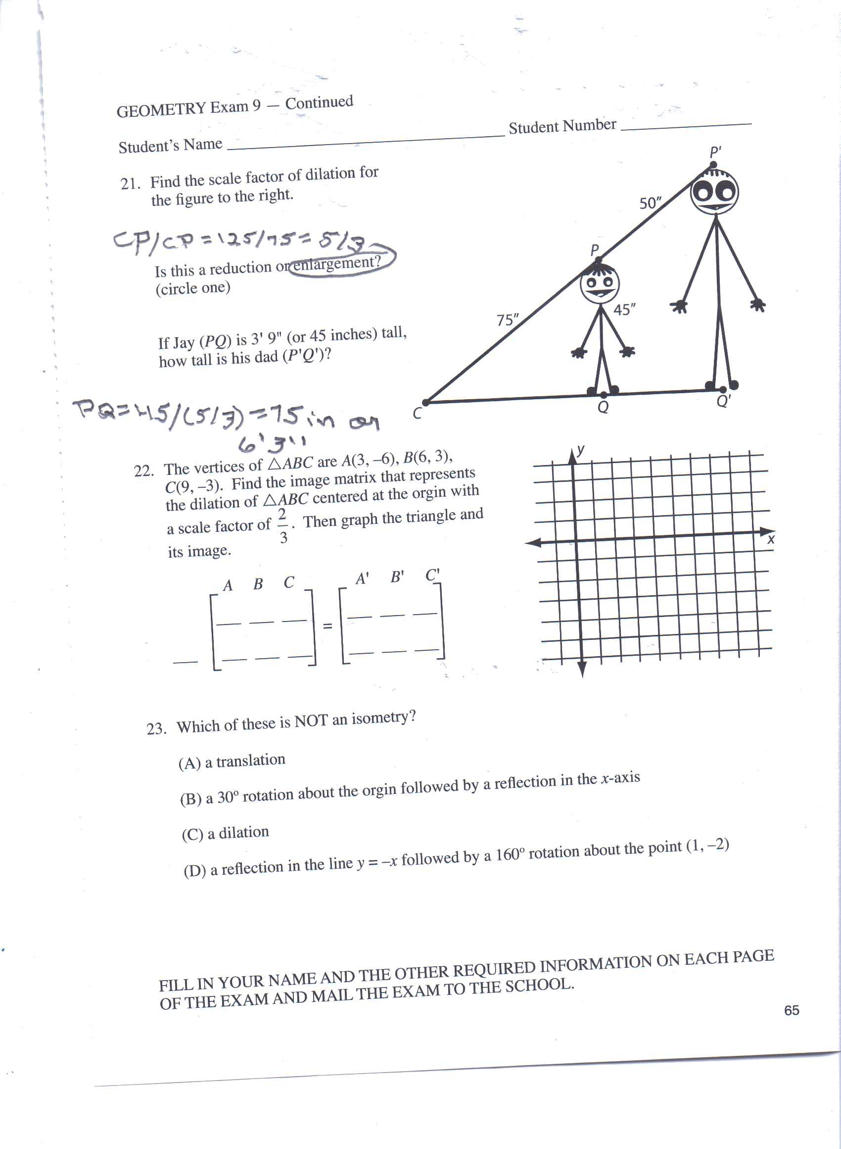 Solved Find The Scale Factor Of Dilation For The Figure T