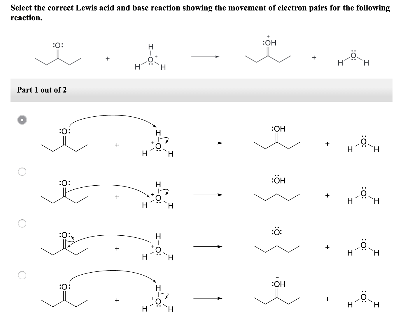 Solved Select The Correct Lewis Acid And Base Reaction Sh