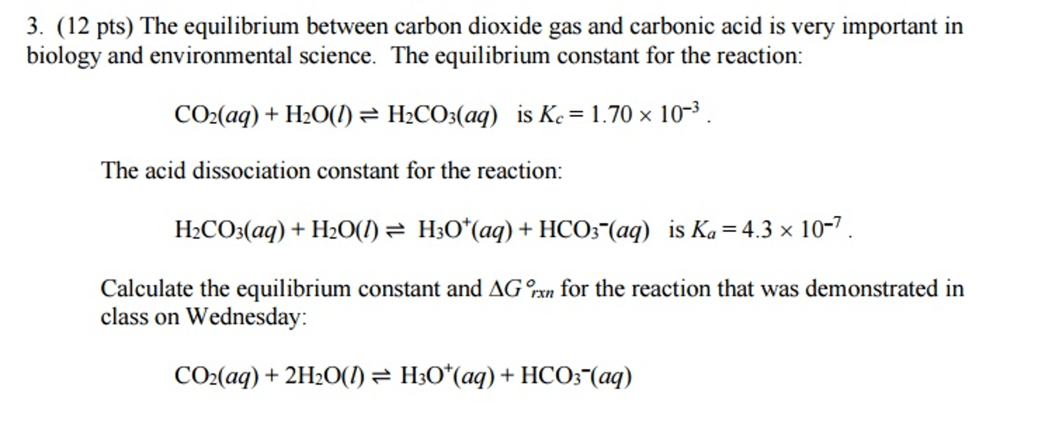 Solved The Equilibrium Between Carbon Dioxide Gas And Car