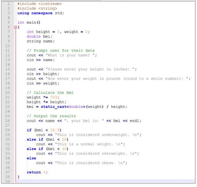 BMI Calculator Write a MIPS program that  Chegg.com