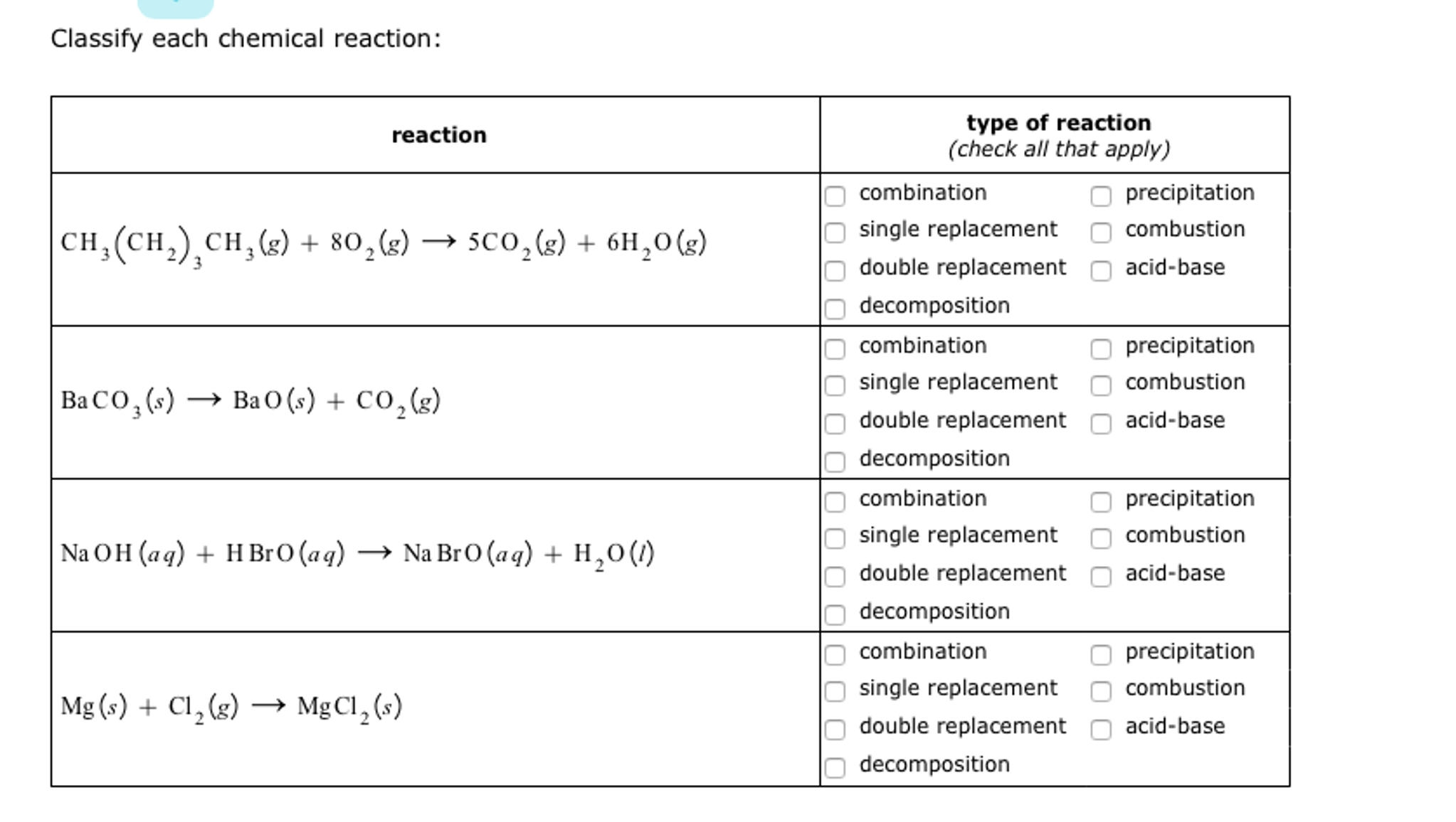 Solved Classify Each Chemical Reaction Reaction Ch3 Ch2