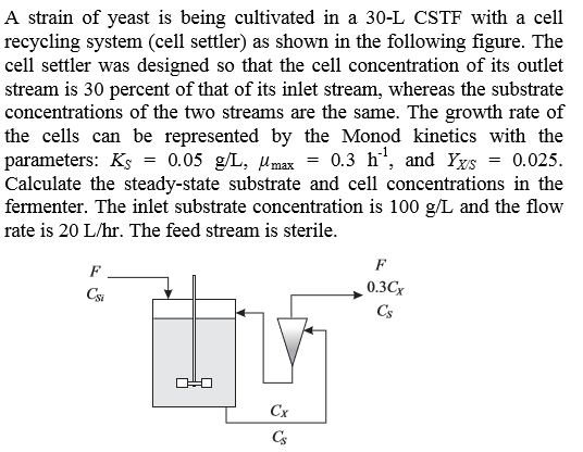 A strain of yeast is being cultivated in a 30-L CSTF with a cell recycling system (cell settler) as shown in the following figure. The cell settler was designed so that the cell concentration of its outlet stream is 30 percent of that of its inlet stream, whereas the substrate concentrations of the two streams are the same. The growth rate of the cells can be represented by the Monod kinetics with the parameters: Ks - 0.05 g/L, Umax 0.3 h, and Ys 0.025 Calculate the steady-state substrate and cell concentrations in the fermenter. The inlet substrate concentration is 100 g/L and the flow rate 1s 20 L/hr. The feed stream is sterile 0.3C Cs CSi Cx CS