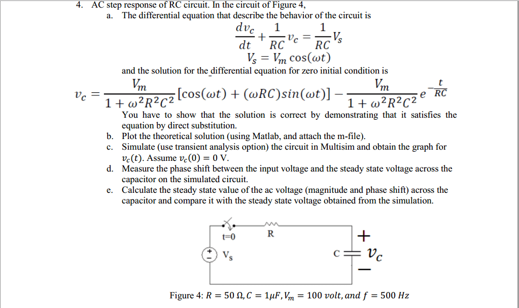 Solved: 4. AC Step Response Of RC Circuit. In The Circuit