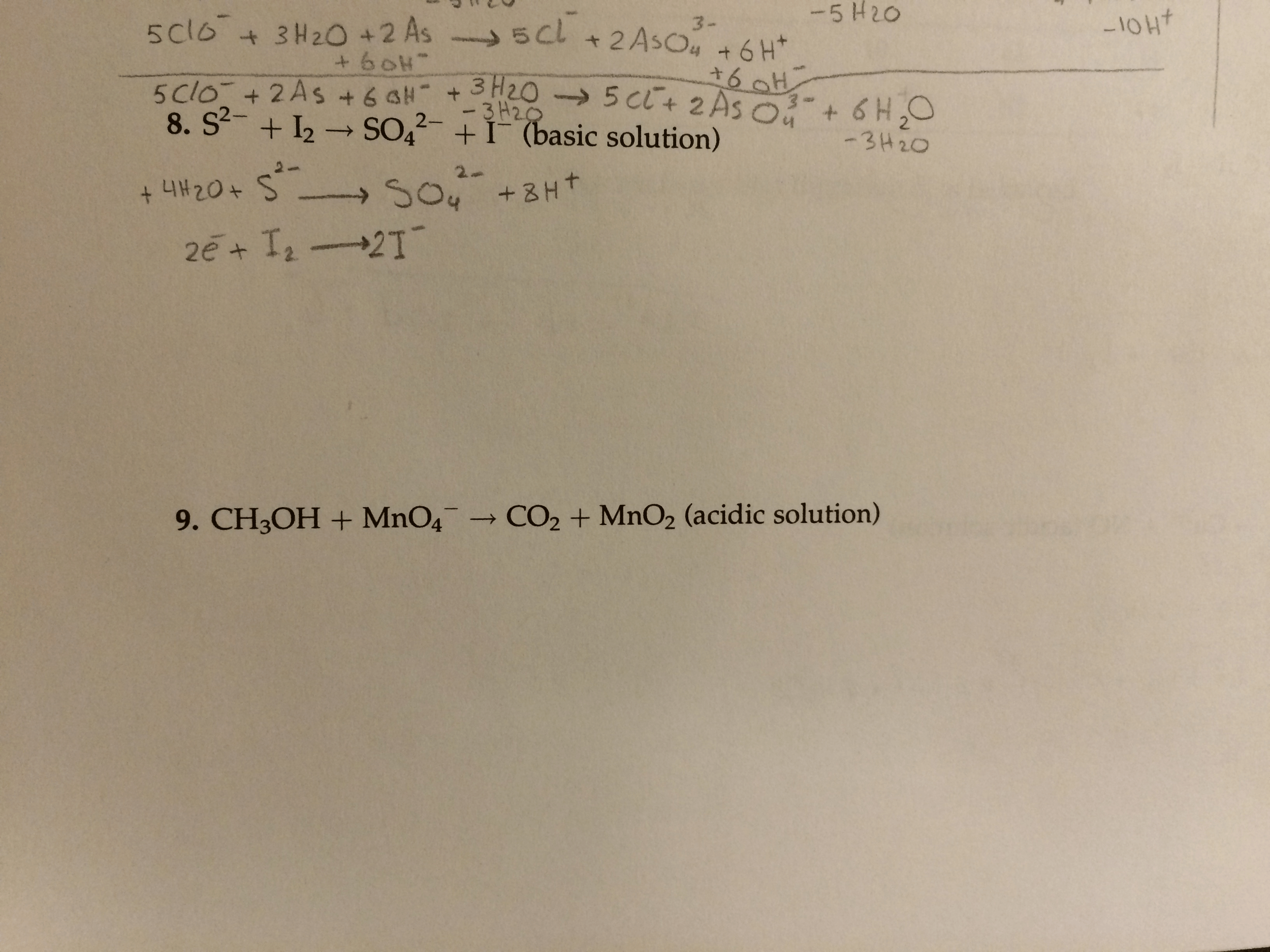 Balance The Redox Equations Using The Ion Electron