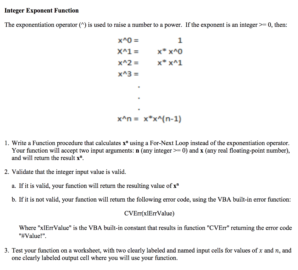 Solved Integer Exponent Function The Exponentiation Opera