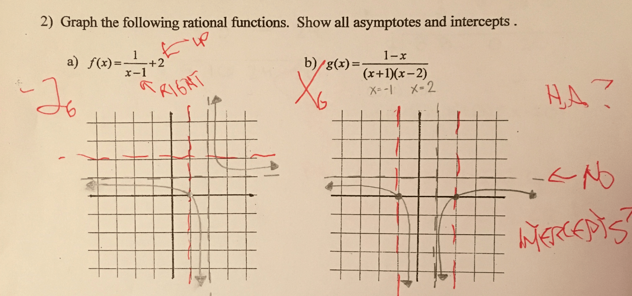 Solved Graph The Following Rational Functions Show All A