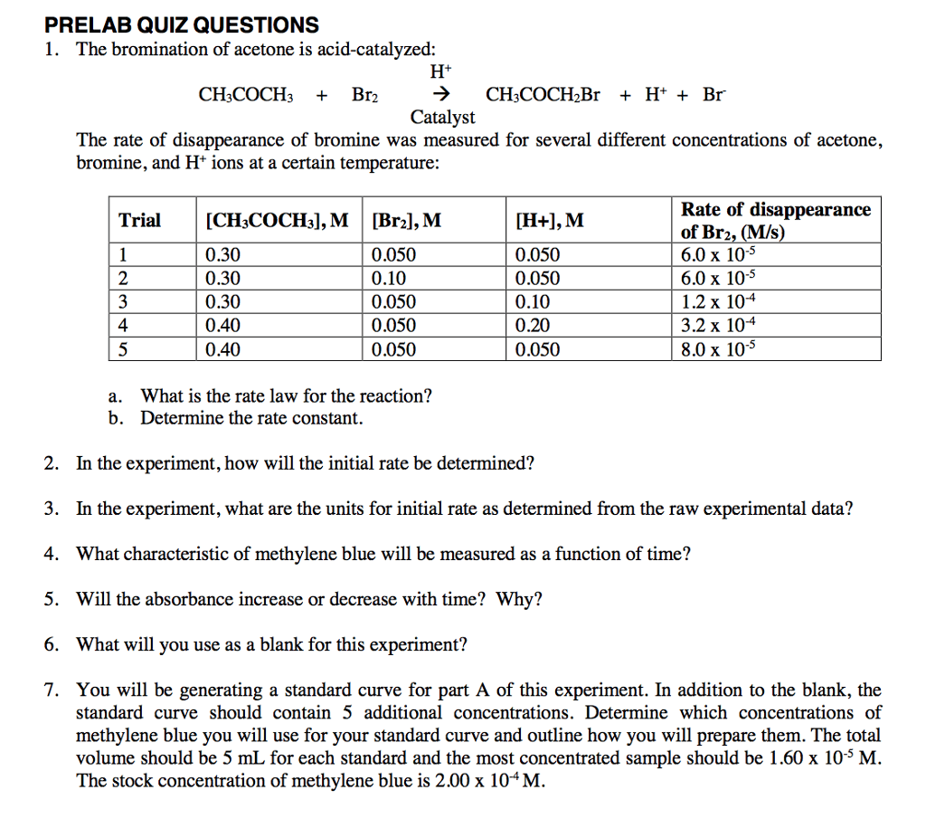 Solved Prelab Quiz Questions 1 The Bromination Of Aceton
