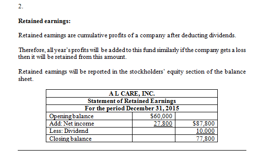 2 Retained earnings: Retained eamings are cumulative profits of a company after deducting dividends. Therefore, all years pr