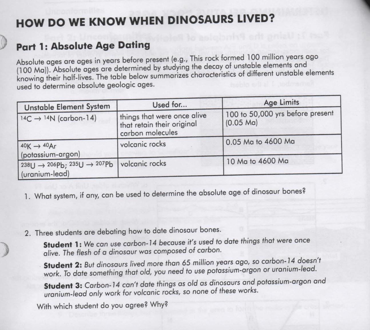 Solved Geology Help Unconformities Worksheet Please Igno