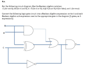 Solved: For The Following Circuit Diagram, Use The Boolean