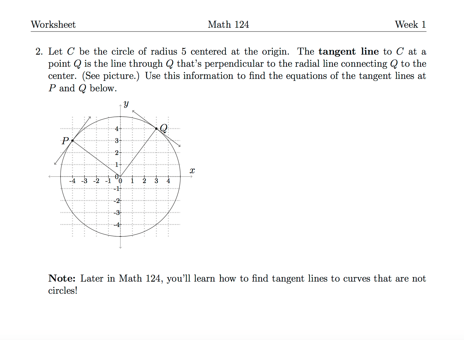 Solved Worksheet Math 124 Week 1 2 Let C Be The Circle O