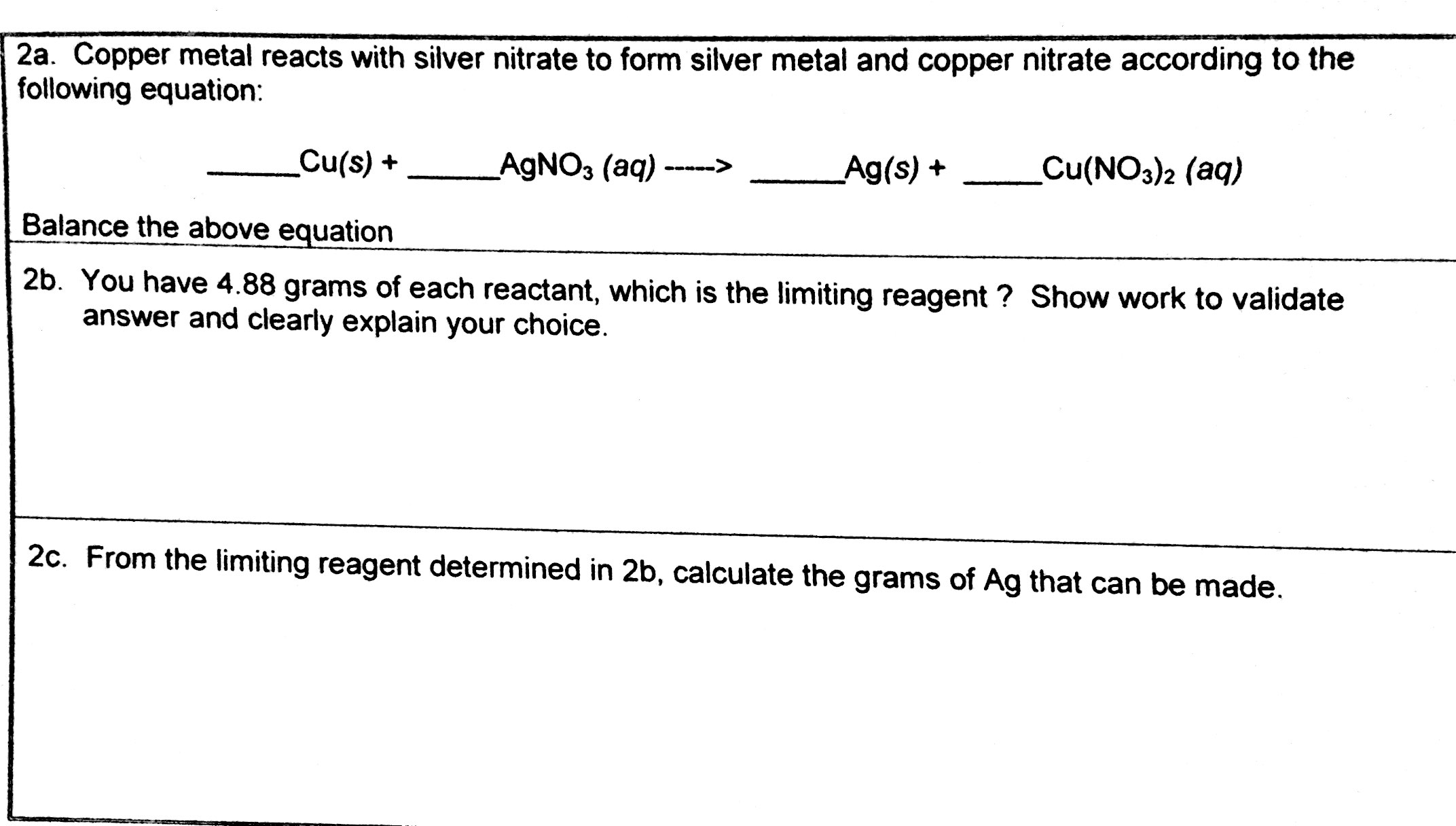 Solved Copper Metal Reacts With Silver Nitrate To Form Si