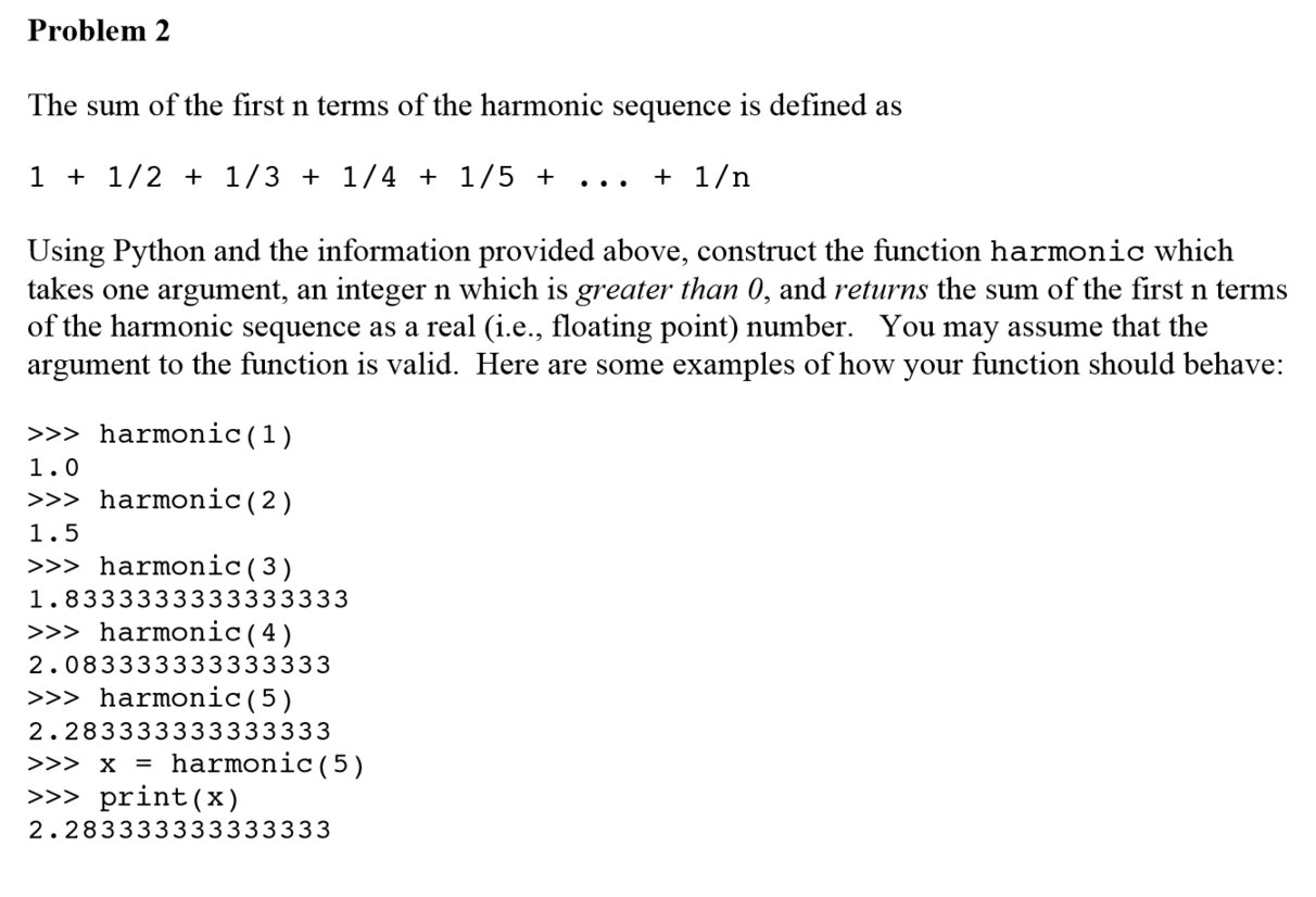 Solved The Sum Of The First N Terms Of The Harmonic Seque