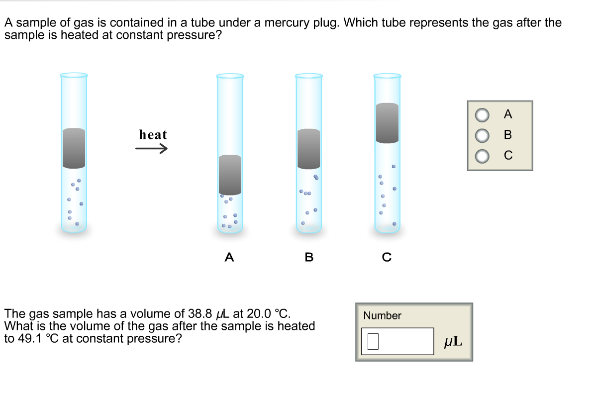 Solved A Sample Of Gas Is Contained In A Tube Under A Mer
