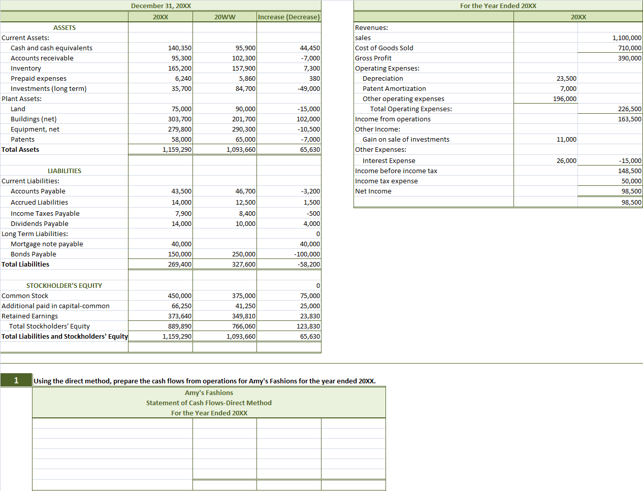 Solved Review The 20xx Financial Statements For Amy S Fas