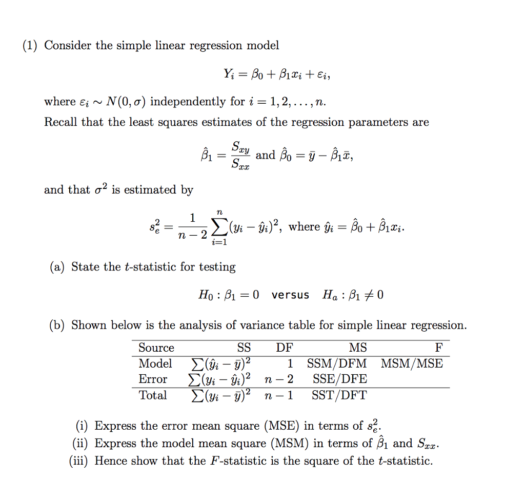 1 Consider The Simple Linear Regression Model Wh