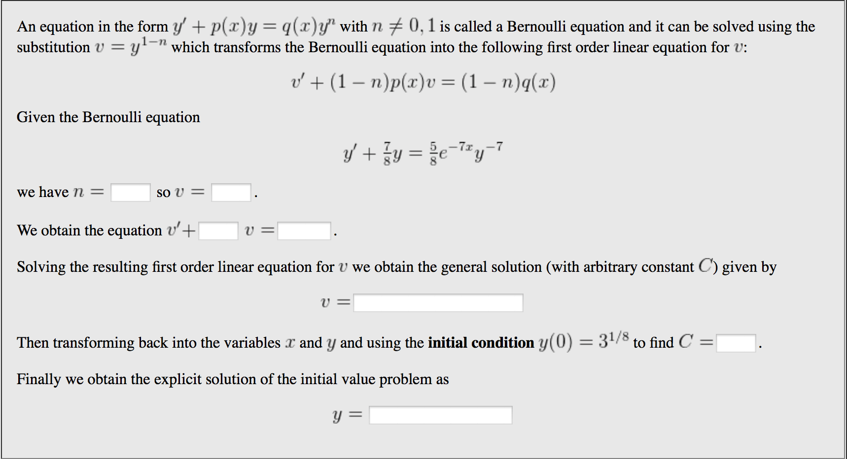 Solved An Equation In The Form With Is Called A Bernoulli