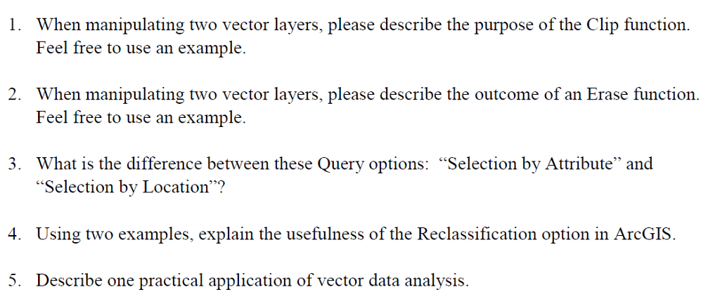 Question When Manipulating Two Vector Layers Please Describe The Purpose Of The Clip Function Feel Free