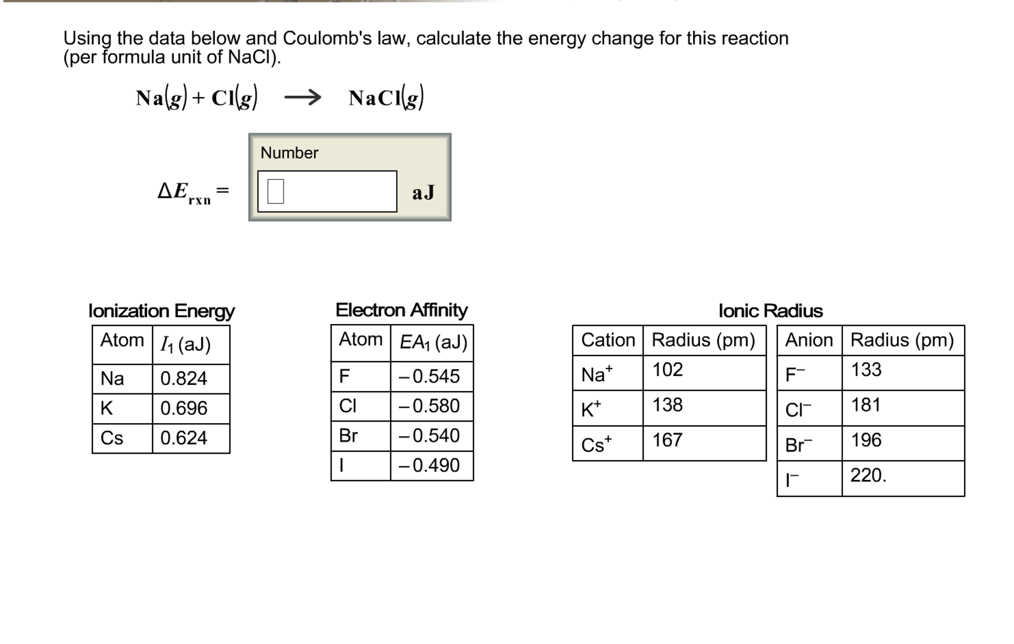 Solved Using The Data Below And Coulomb S Law Calculate
