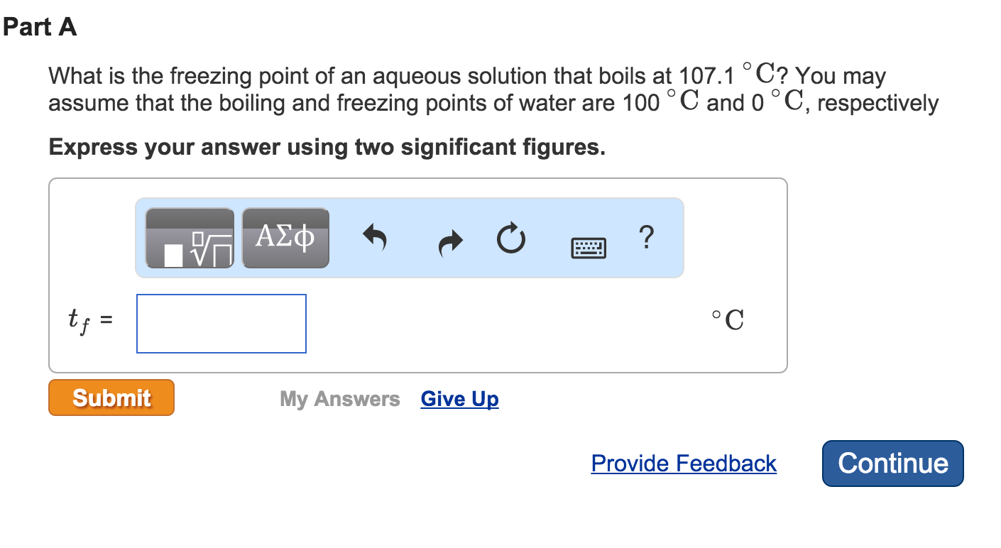 Solved What Is The Freezing Point Of An Aqueous Solution
