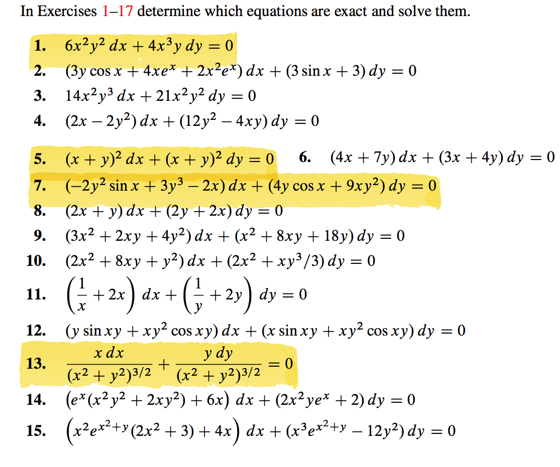 Solved In Exercises 1 17 Determine Which Equations Are Ex