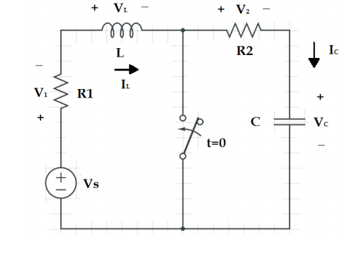 media%2Fbd3%2Fbd38650c 4a75 4bd0 8739 3c1d92e0728d%2FphpNaIPtI - In the circuit below, assume the switch was open for a long period of time before being closed. Please determine: a) iL(0+), Vc(0+), V1(0+) and V2(0+) b) diL(0+)/dt, dVc(0+0/dt, and dV1(0+)/dt c) iL( infinity) infinity), and V2 (infinity), V1(infinity), Vc(