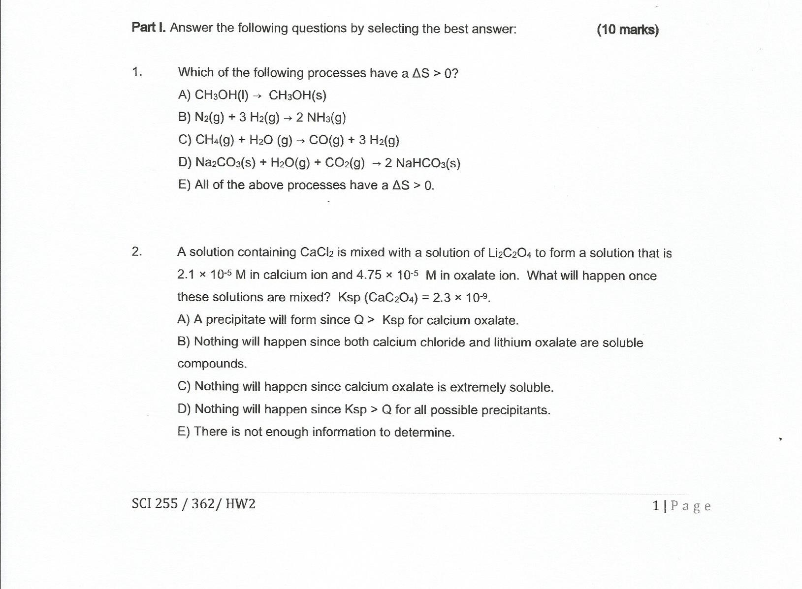 Solved Part I Answer The Following Questions By Selectin