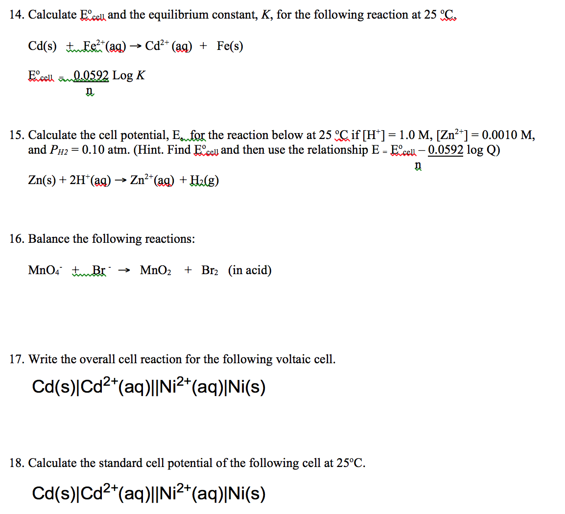Solved Calculate E Degree Cell And The Equilibrium Consta