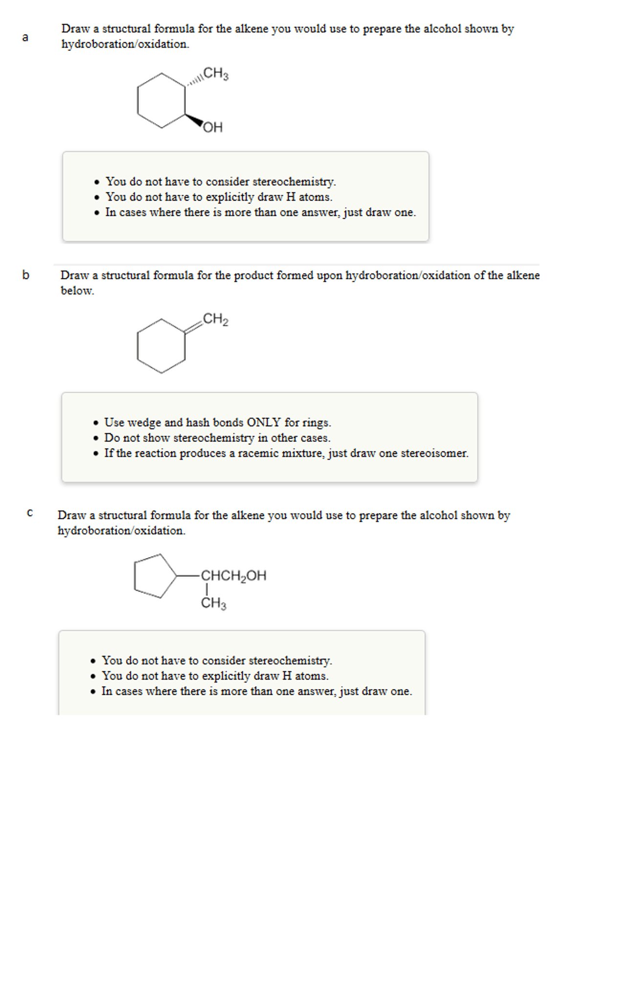 Draw A Structural Formula For The Alkene You Would
