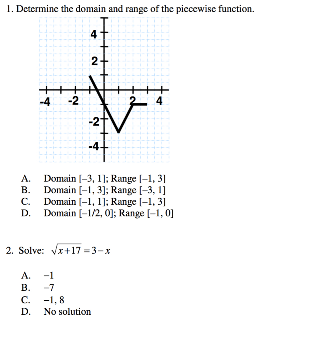 Solved Determine The Domain And Range Of The Piecewise Fu