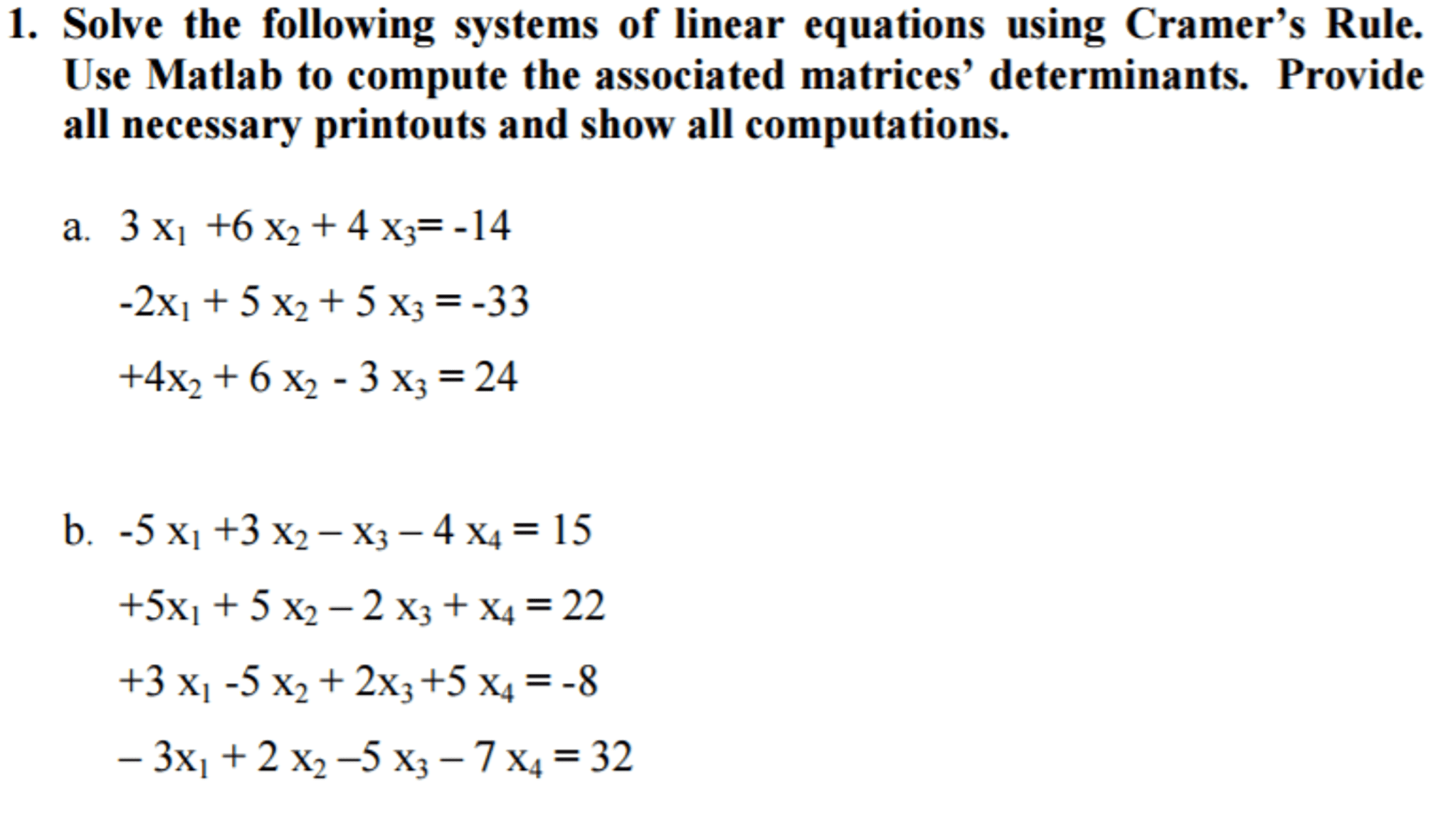 Solving System Of Linear Equations Determinant