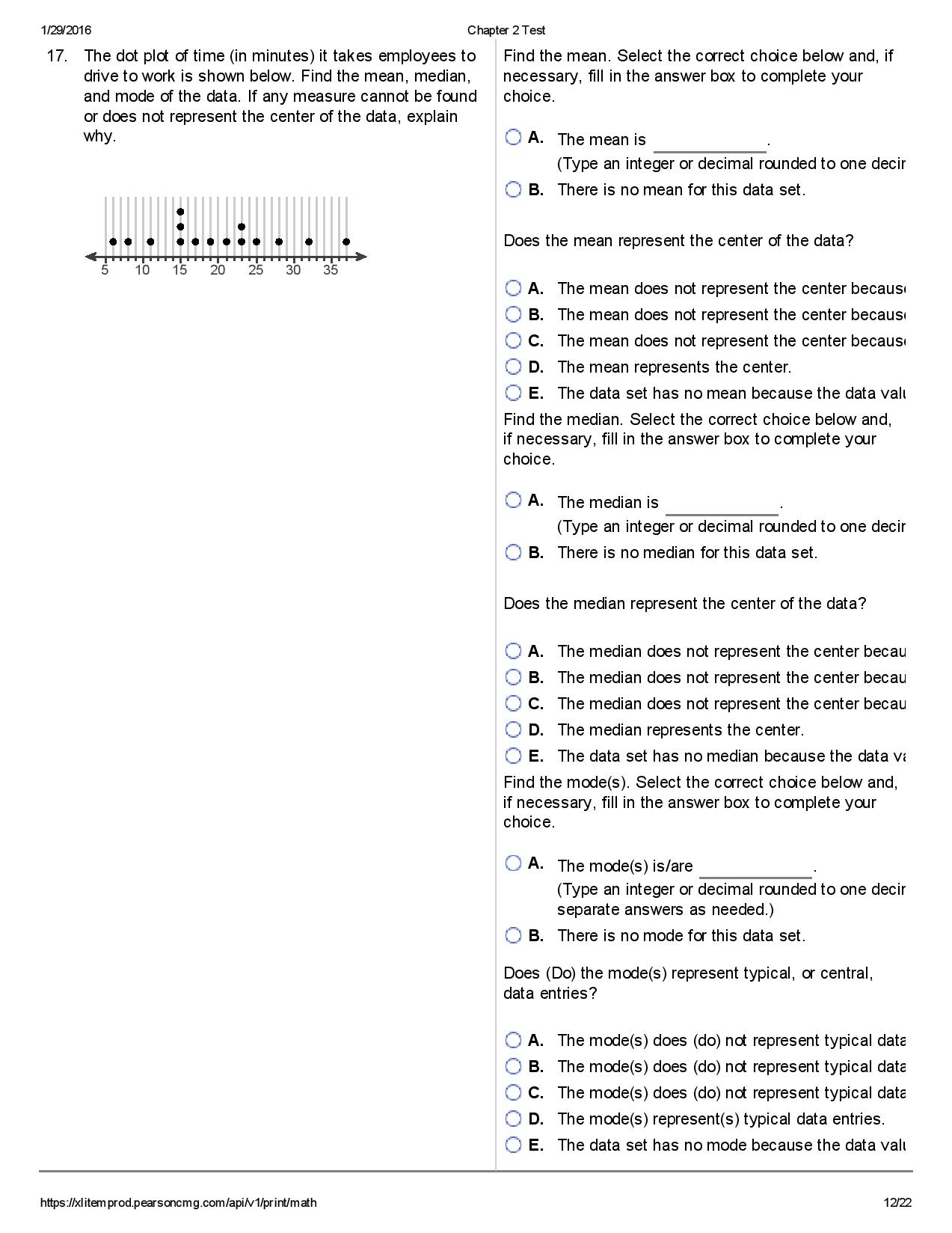 Solved 1 29 Chapter 2 Test 17 The Dot Plot Of Time