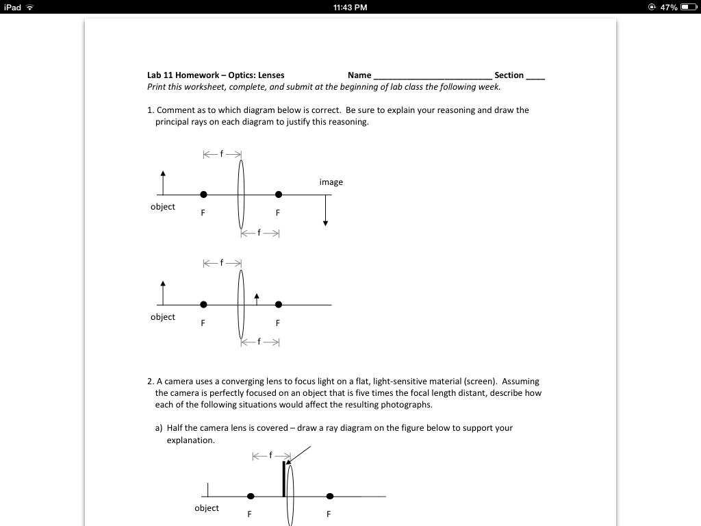 28 Draw A Ray Diagram For The Following Situation An