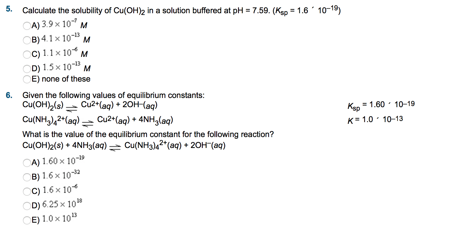 Solved Calculate The Solubility Of Cu Oh 2 In A Solution