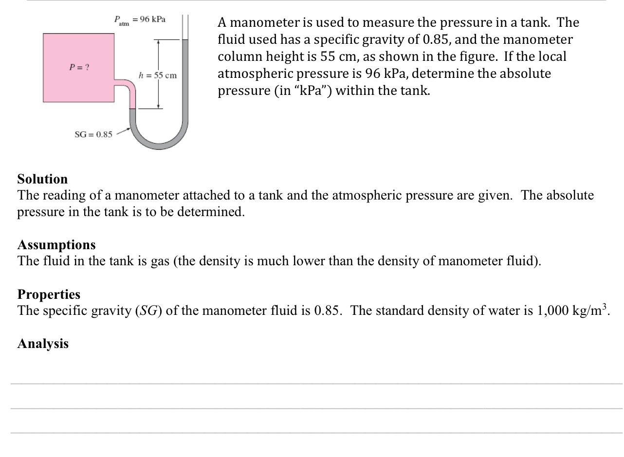 Solved A Manometer Is Used To Measure The Pressure In A T